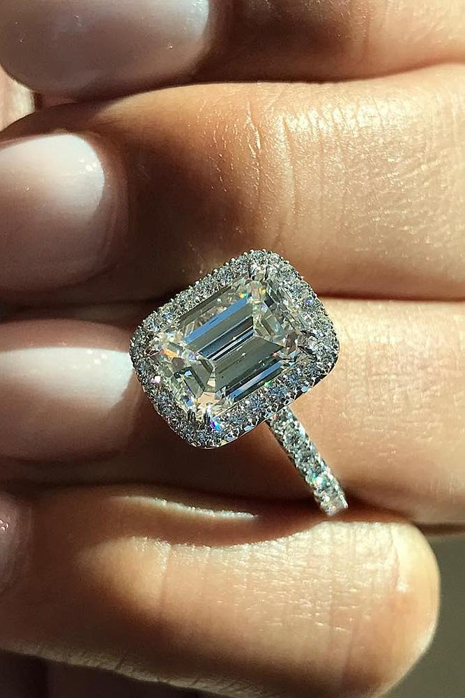 halo engagement rings emerald cut diamond pave band