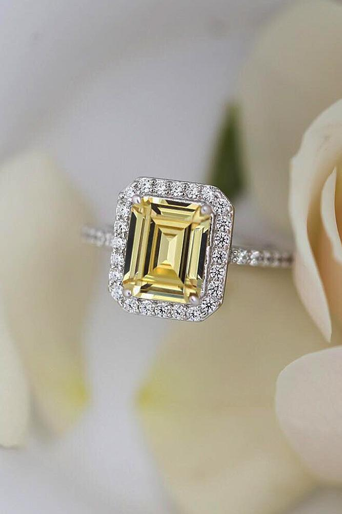 halo engagement rings emerald cut gemstone pave band