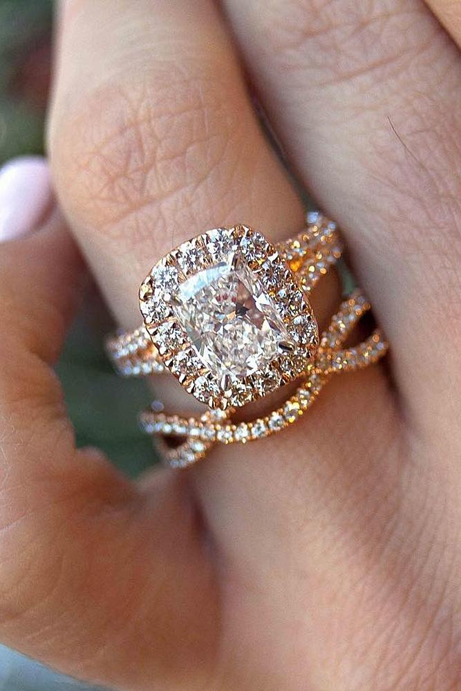 halo engagement rings emerald cut wedding set gold