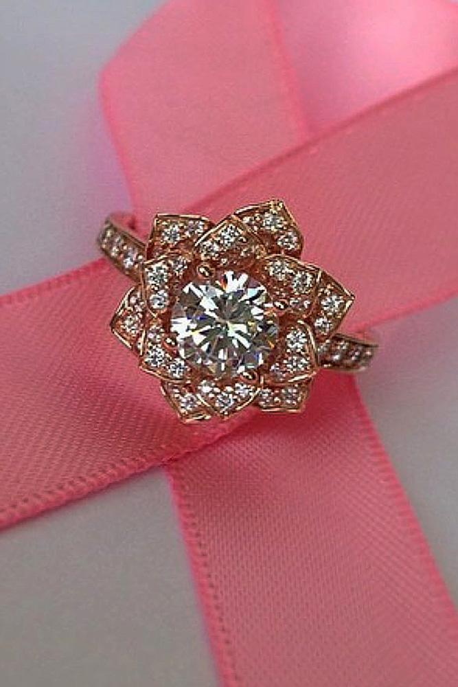halo engagement rings flower round cut diamond rose gold