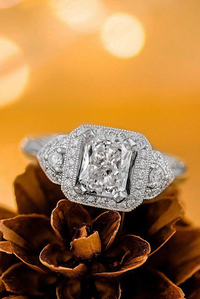 halo engagement rings modern unique white gold