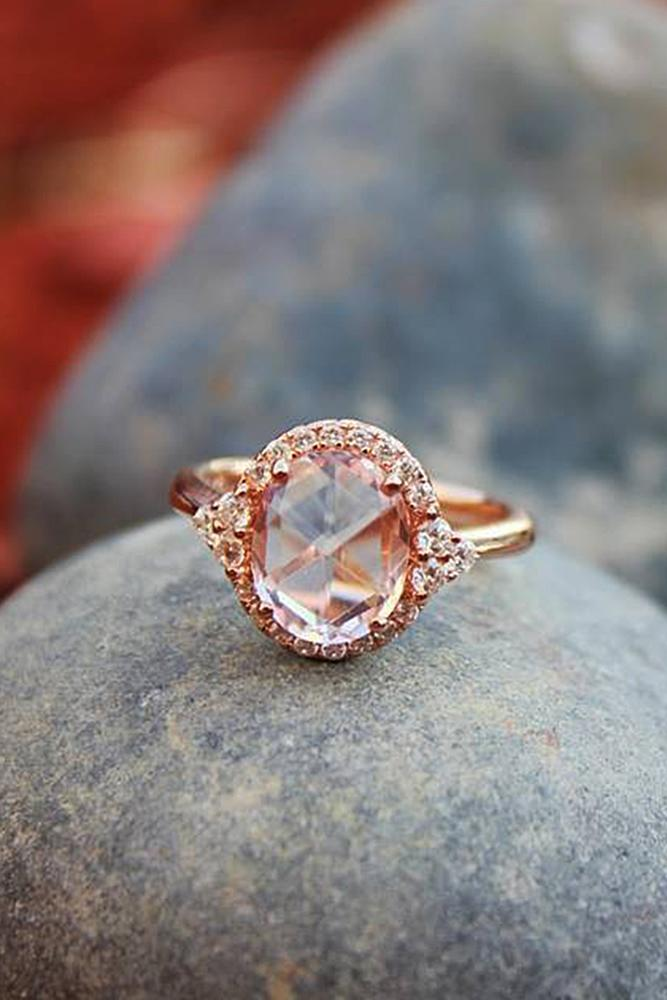 halo engagement rings oval cut morganite rose gold