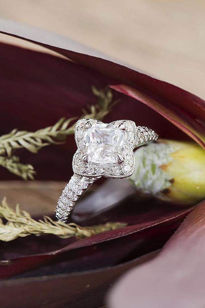 halo engagement rings pave band round cut gold