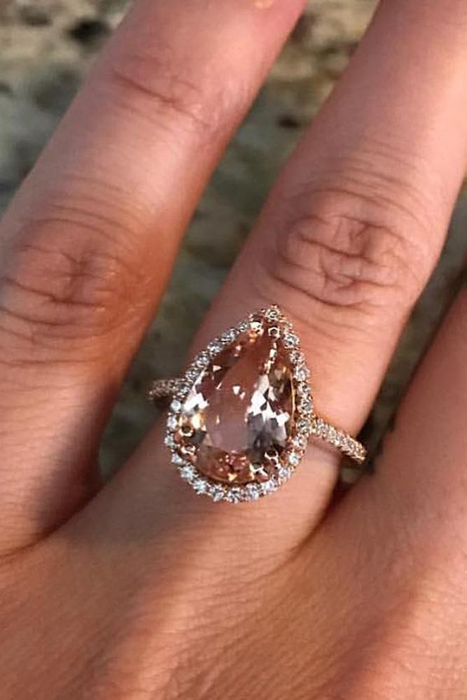 halo engagement rings pear cut morganite rose gold