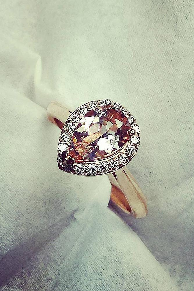 halo engagement rings pear cut rose gold gemstone