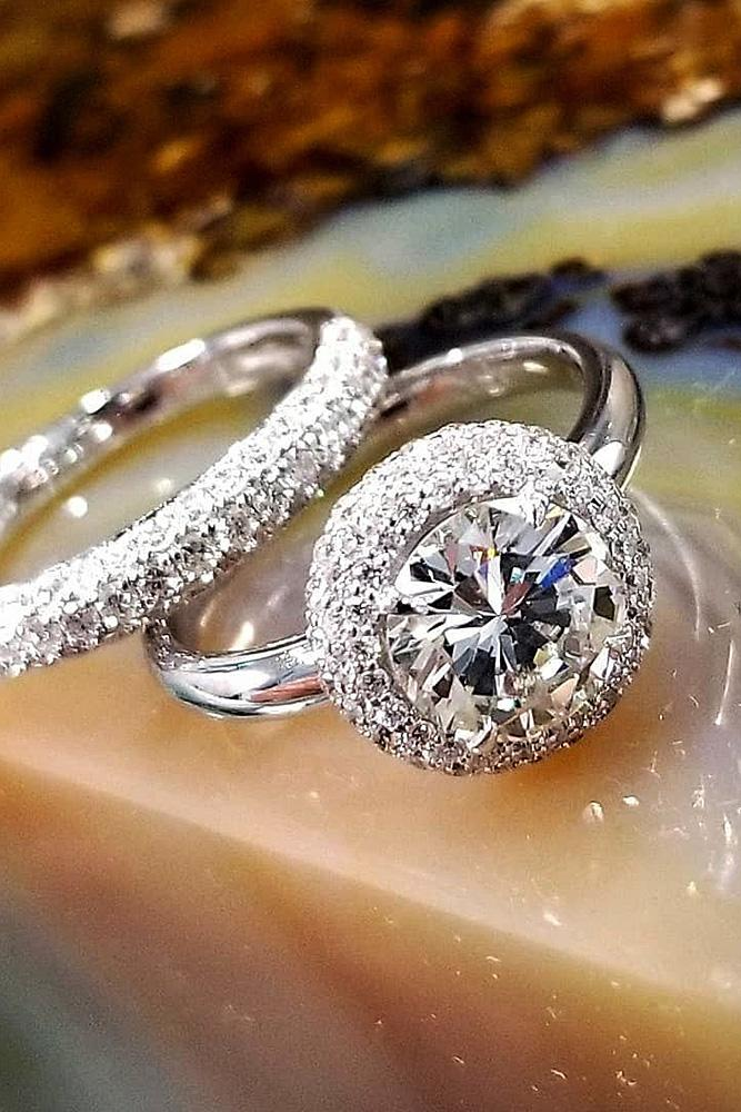halo engagement rings round cut diamond white gold set