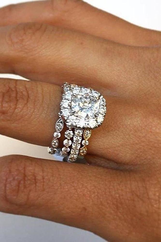 halo engagement rings round cut diamonds wedding set