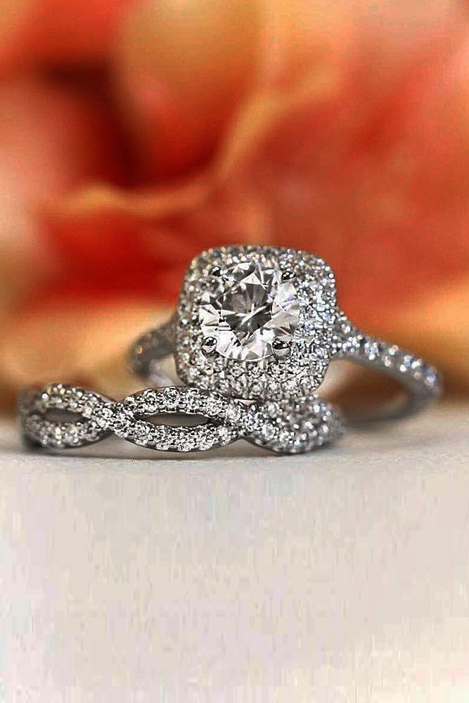 halo engagement rings round cut wedding set pave band twist