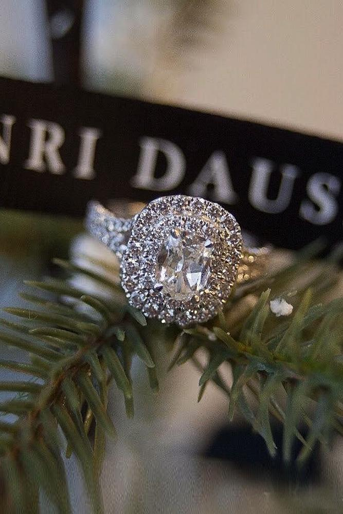 halo engagement rings split pave band oval cut