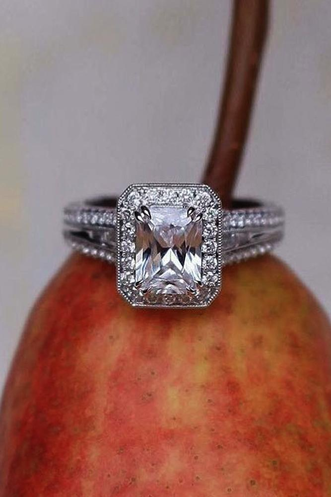 halo engagement rings vintage white gold emerald cut