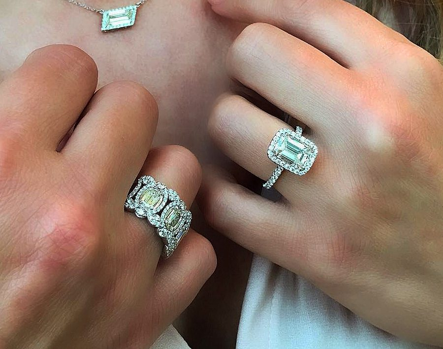 halo engagement rings white gold emerald cut diamond featured