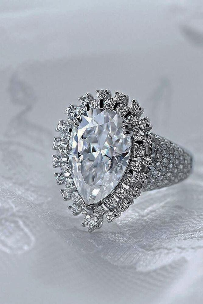moissanite engagement rings amazing pear cut moissanite halo pave band sparkling