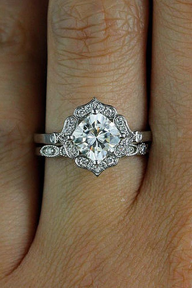 moissanite engagement rings cushion cut vintage white gold