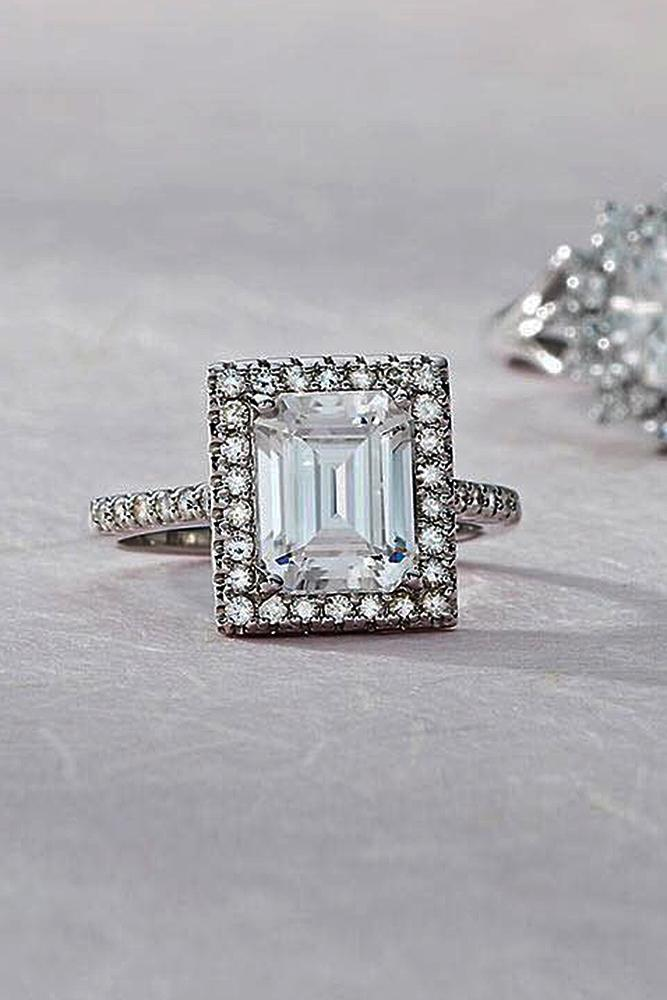 moissanite engagement rings emerald cut halo modern white gold