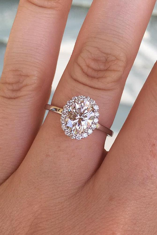moissanite engagement rings gold oval cut halo floral