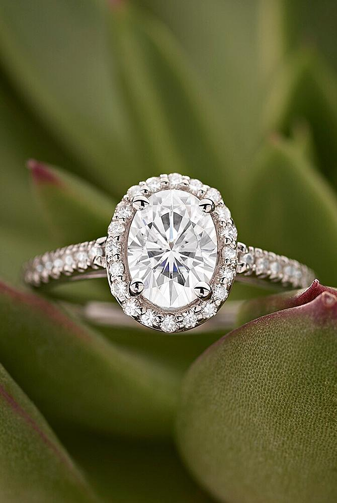 moissanite engagement rings oval cut halo pave band