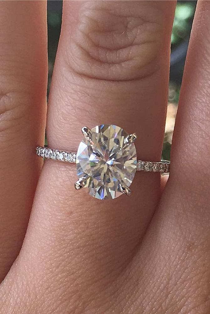 moissanite engagement rings oval pave band simple solitaire