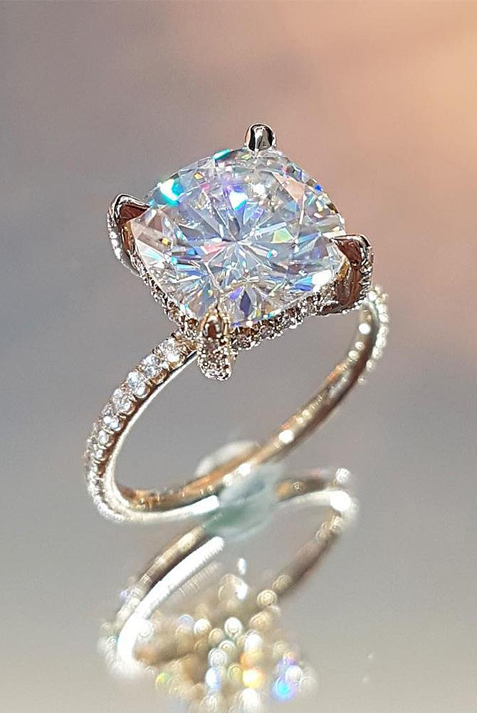 moissanite engagement rings pave band gold cushion cut