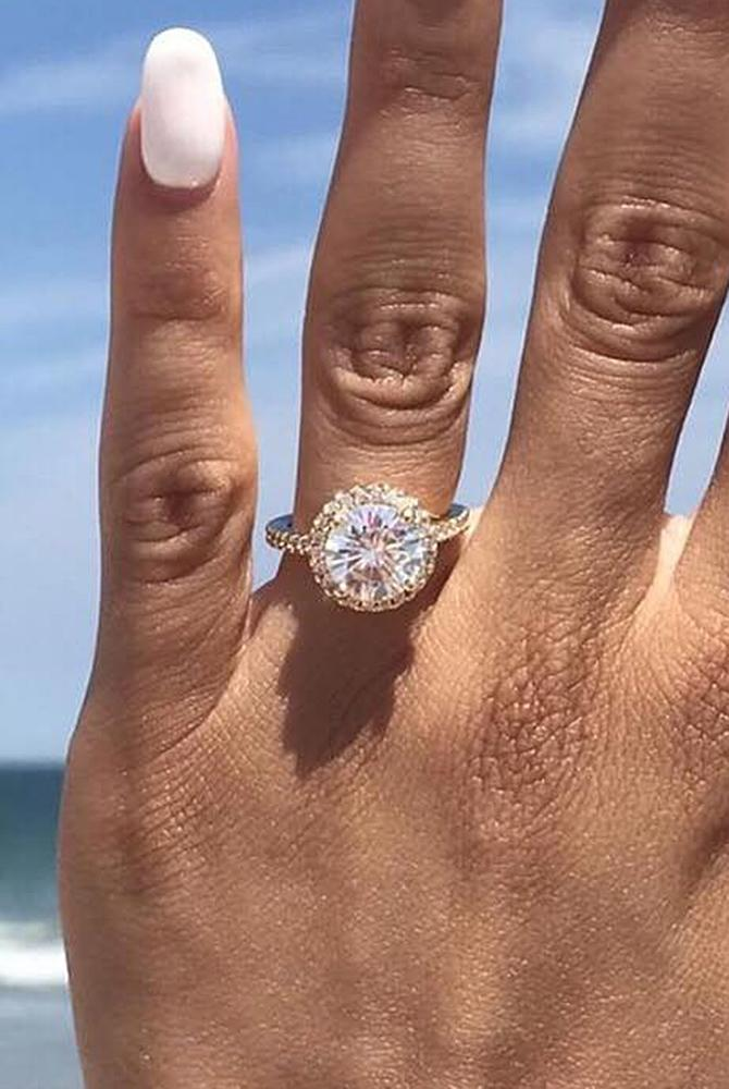 moissanite engagement rings pave band halo round cut
