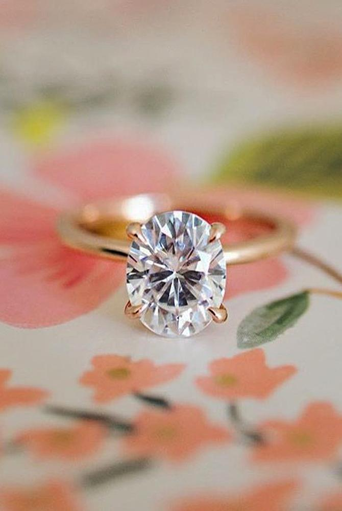 moissanite engagement rings rose gold oval simple solitaire
