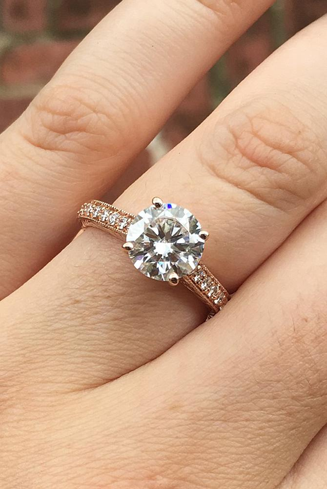 moissanite engagement rings rose gold pave band round cut