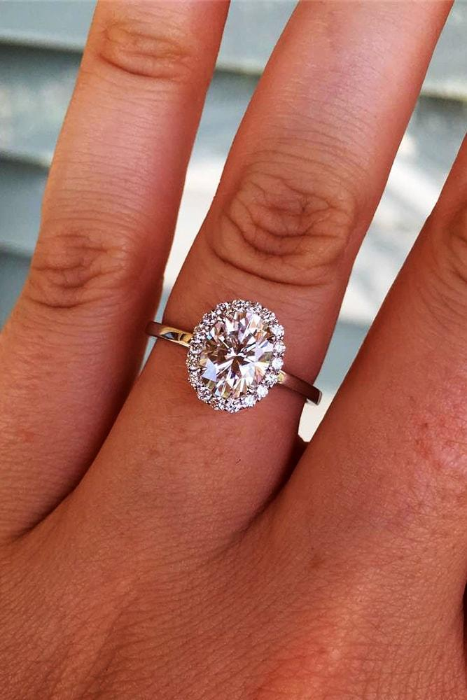 moissanite engagement rings rose gold sparkling oval cut moissanite halo pave simple band classic
