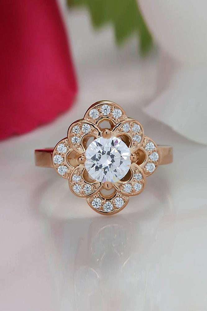 moissanite engagement rings round cut halo floral vintage rose gold
