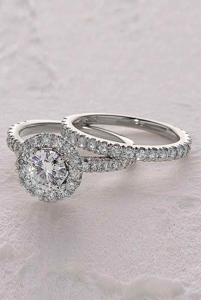 moissanite engagement rings round cut halo set pave band