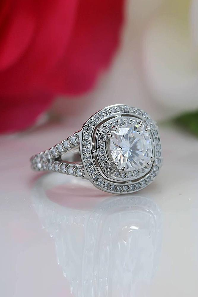 moissanite engagement rings round cut halo twist split pave band