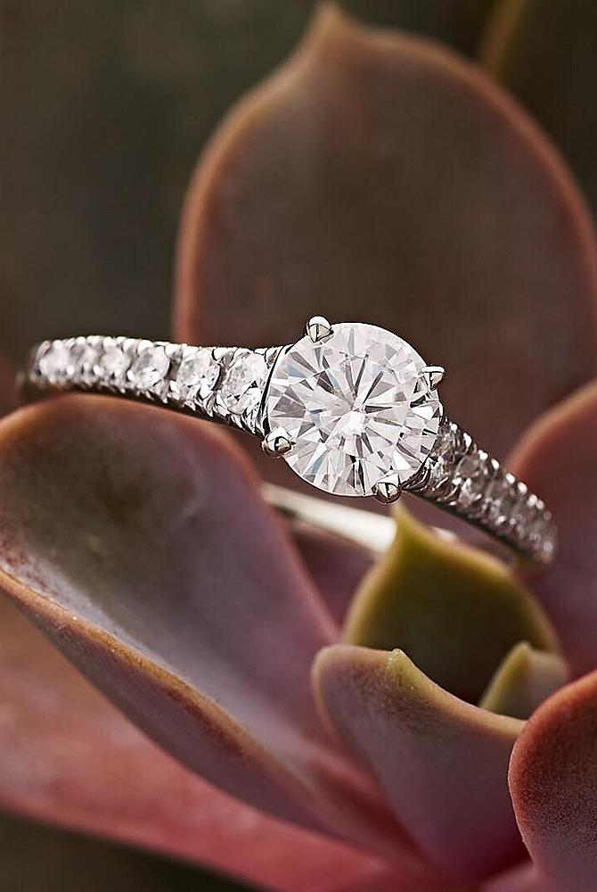 moissanite engagement rings round cut solitaire gold