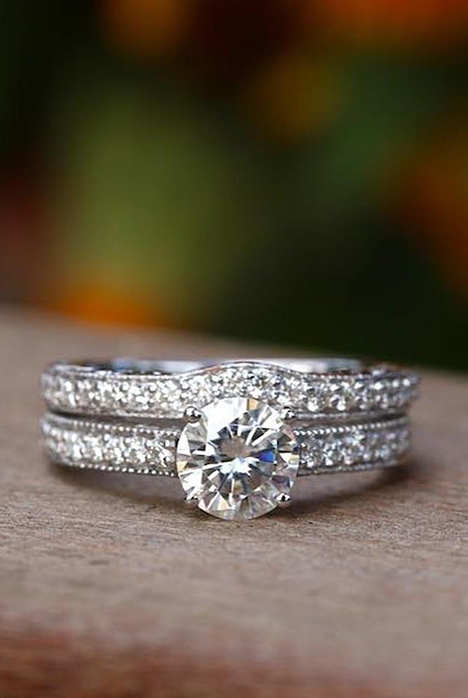 moissanite engagement rings round cut white gold wedding set