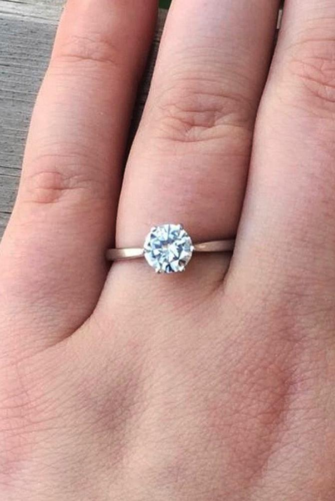 moissanite engagement rings simple round cut solitaire rose gold