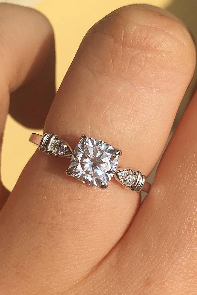 moissanite engagement rings solitaire white gold unique modern cushion cut