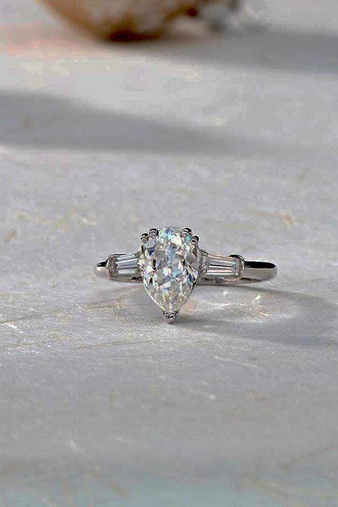 moissanite engagement rings white gold amazing pear cut moissanite solitaire pave band classic