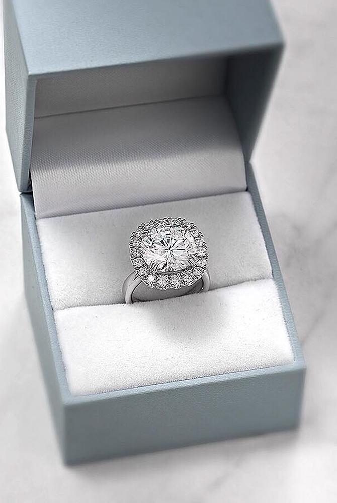 moissanite engagement rings white gold round cut halo