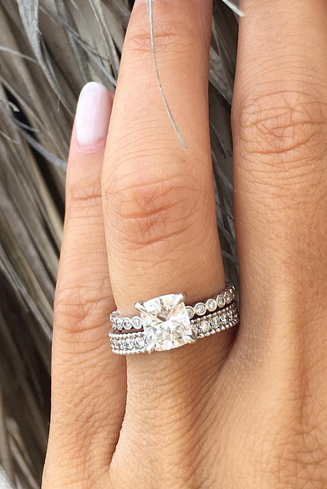 moissanite engagement rings white gold solitaire cushion cut wedding set