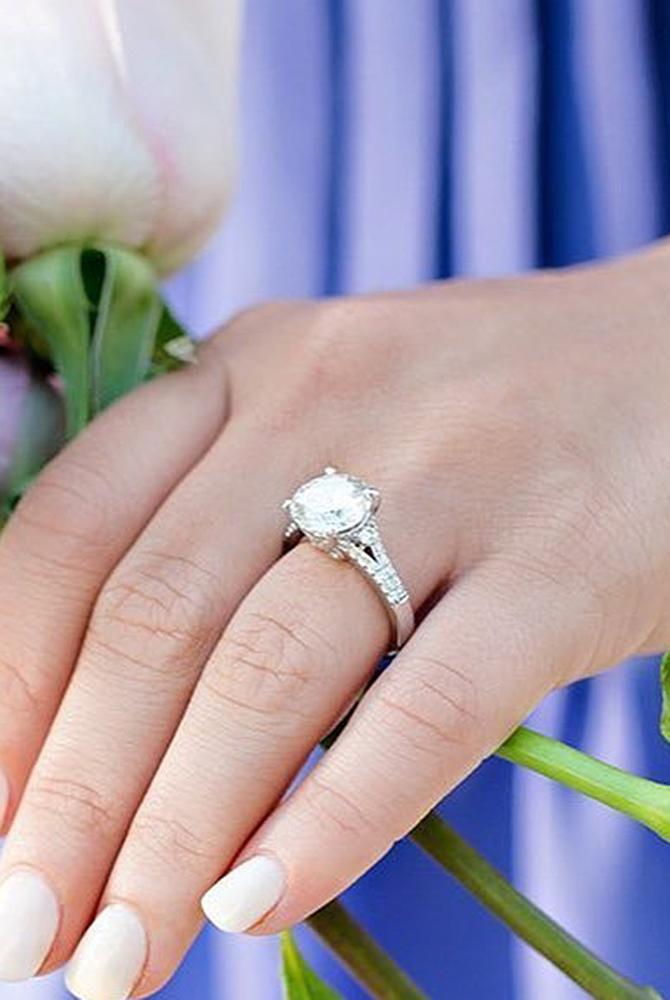 moissanite engagement rings white gold split pave band
