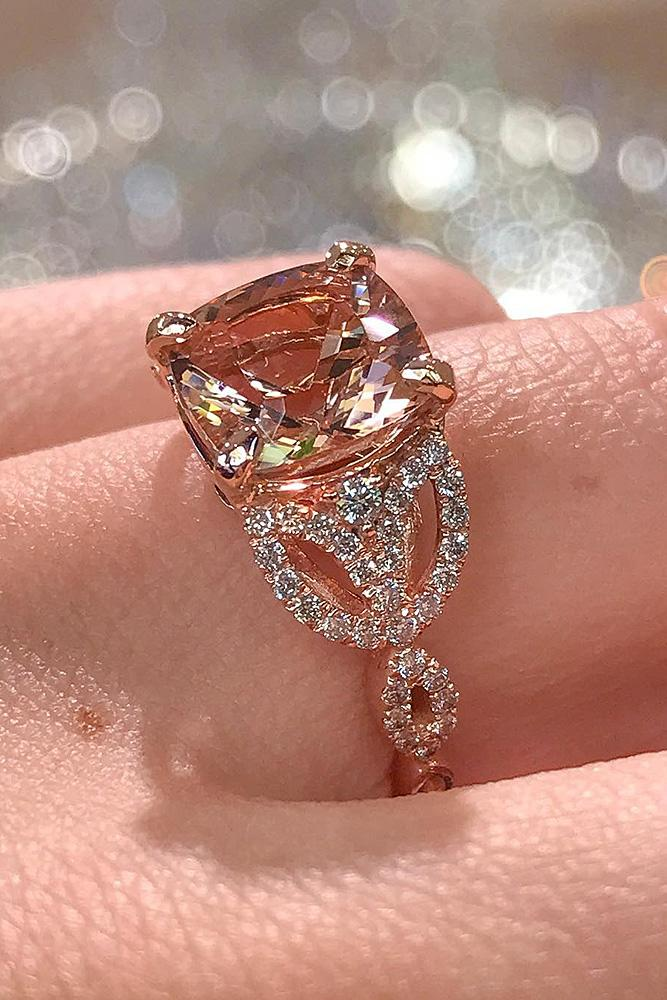 rose gold solitaire ring cushion cut morganite unique