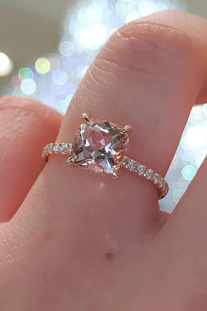 rose gold solitaire ring cushion cut pave band simple