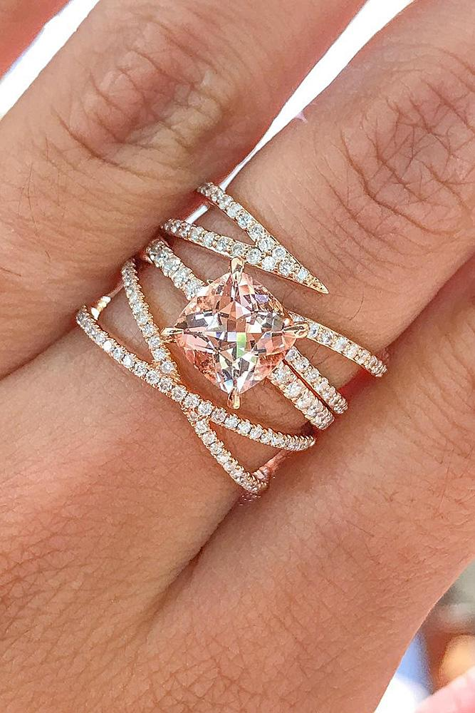 rose gold solitaire ring cushion cut unique morganite
