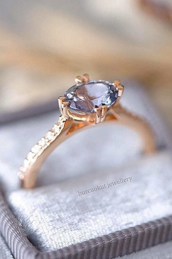 rose gold solitaire ring gemstone oval cut pave band