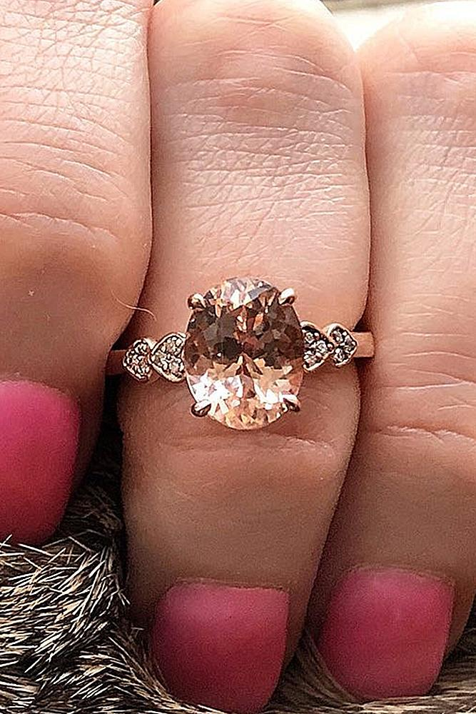 rose gold solitaire ring oval cut morganite unique