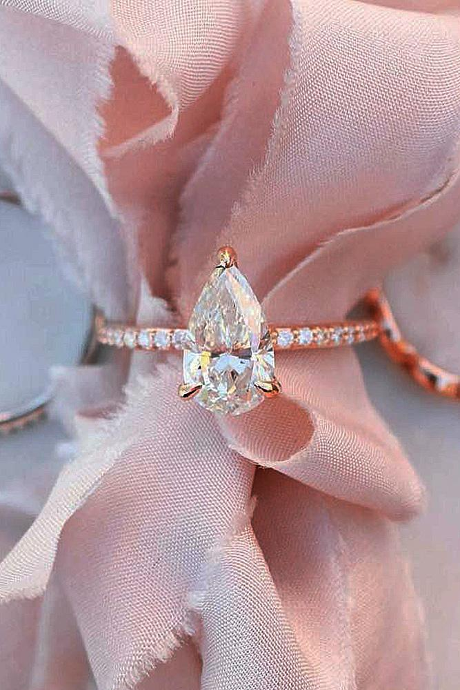 rose gold solitaire ring pave band pear cut diamond