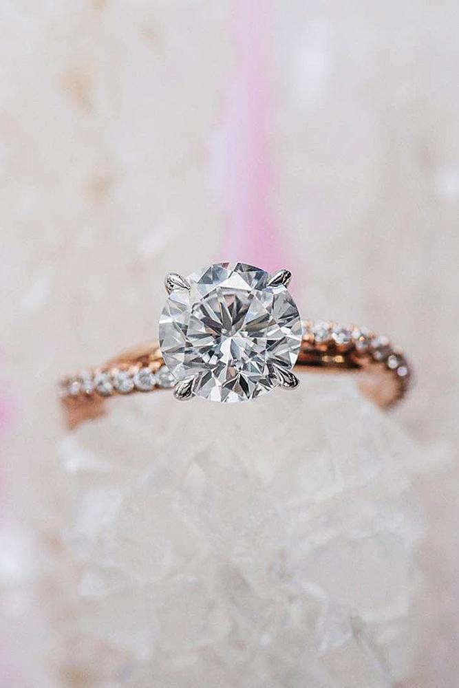 rose gold solitaire ring round cut diamond twist