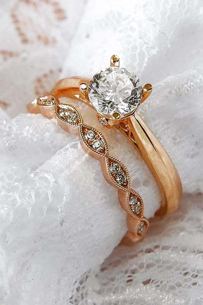 rose gold solitaire ring round cut diamond wedding set