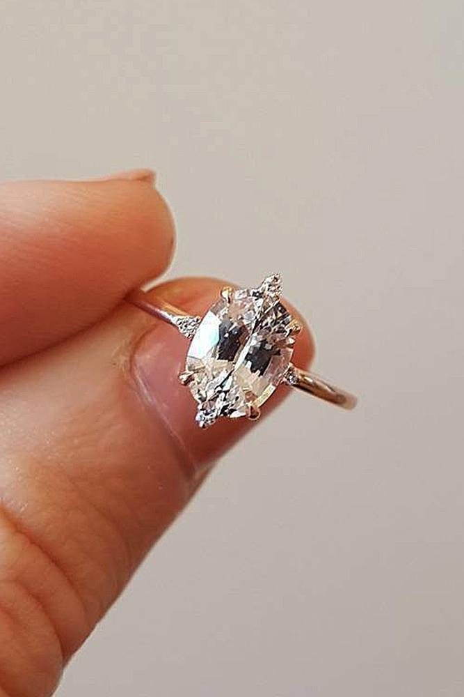 rose gold solitaire ring unique modern diamond