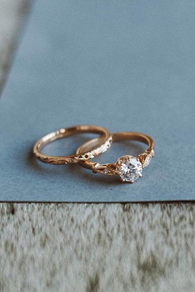 rose gold solitaire ring wedding set vintage diamond
