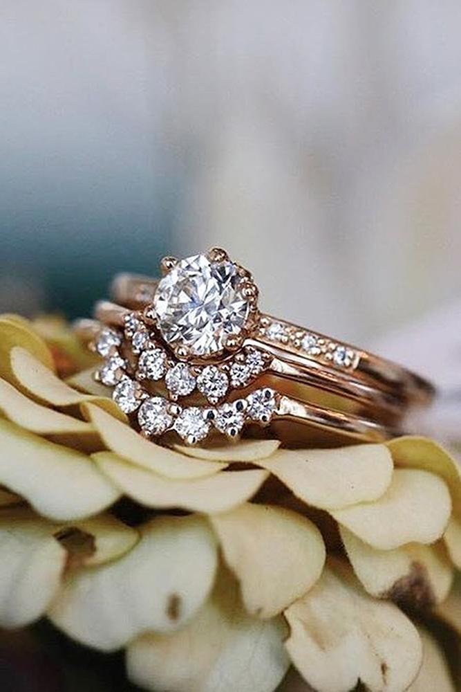 rose gold unique engagement rings band set round cut