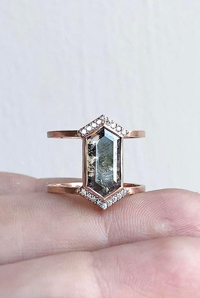 rose gold unique engagement rings black diamond modern