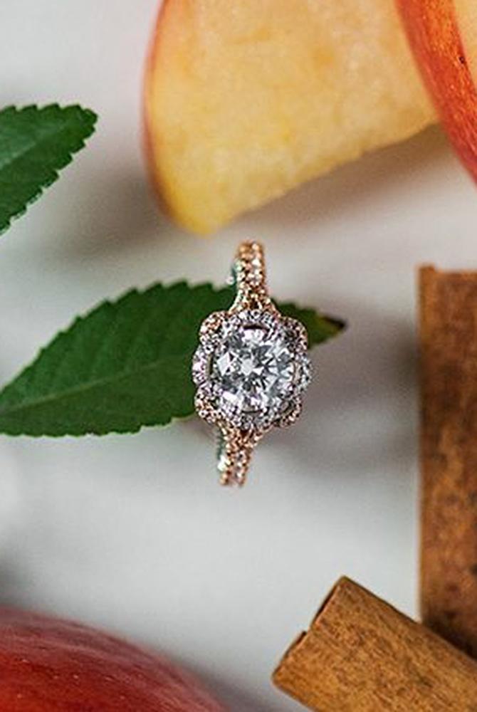 rose gold unique engagement rings diamond halo floral